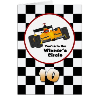 Happy 10th Birthday Race Car Card