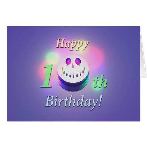 Happy 10th Birthday Smiley Cake Card