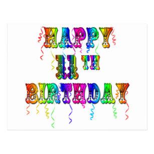 Happy 11th Birthday Balloons Postcard