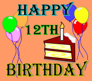 Happy 12th Birthday With Cake Balloons And Candle Key Ring