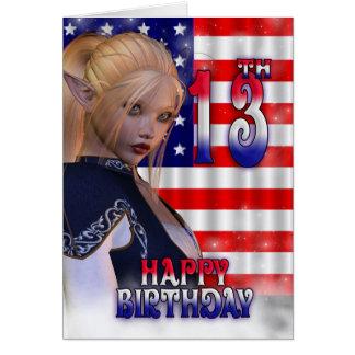 Happy 13th Birthday, American Flag, USA Greeting Card