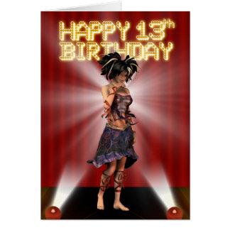 Happy 13th Birthday Teenager  star deva on stage Greeting Card