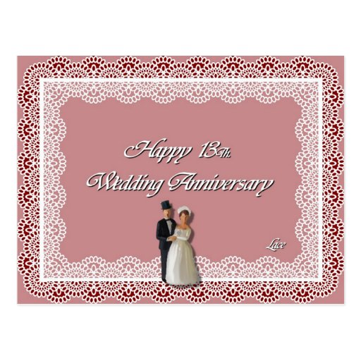 Happy 13Th. Wedding Anniversary Lace Post Card