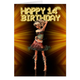 Happy 14th Birthday You are a star, Deva on stage Card