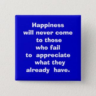 happy 15 cm square badge