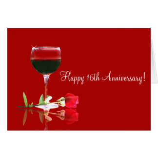 Happy 16th Anniversary Card Wine Country Style