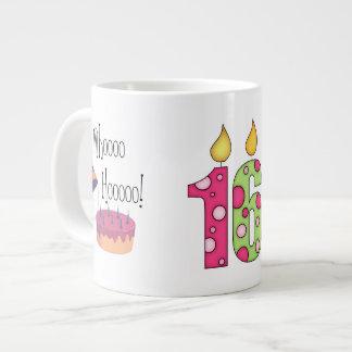 Happy 16th Birthday/Candles+Cake-Customize Name Jumbo Mug