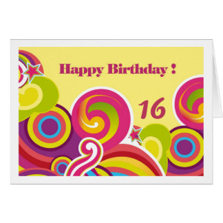 Happy 16th Birthday. Colorful Circles Custom Cards