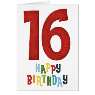 Happy 16th Birthday Colorful Greeting Card