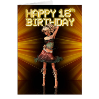 Happy 16th Birthday Deva on the stage Card