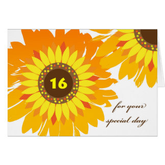 Happy 16th Birthday, Sunflowers Design Card