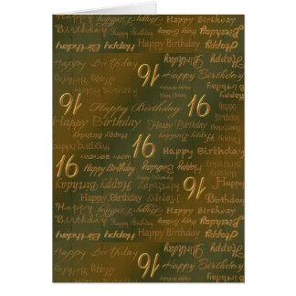 Happy 16th Birthday Weathered Brass Card