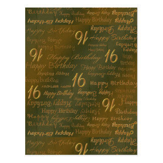 Happy 16th Birthday Weathered Brass Postcard