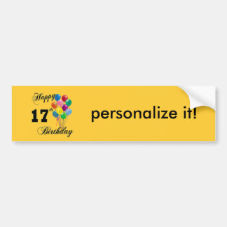 Happy 17th Birthday Design with Balloons Bumper Stickers