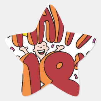 Happy 18th Birthday Cartoon Star Sticker