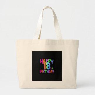 HAPPY 18TH BIRTHDAY MULTI COLOUR LARGE TOTE BAG