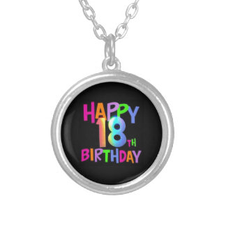 HAPPY 18TH BIRTHDAY MULTI COLOUR SILVER PLATED NECKLACE