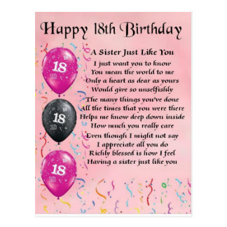 Happy 18th Birthday - Sister Poem Postcard