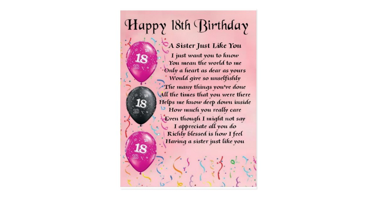 26 Poetic 18th Birthday Quotes: Happy 18th Birthday - Sister Poem Postcard