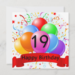 Happy 19th Birthday Balloons Banner Card