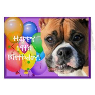 Happy 19th Birthday Boxer Dog greeting card