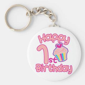 Happy 1st Birthday! Basic Round Button Key Ring
