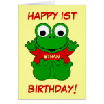 Happy 1st Birthday Cartoon Frog for Ethan Greeting Card