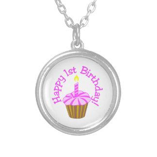Happy 1st Birthday Round Pendant Necklace