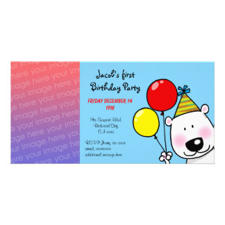 Happy 1st birthday party invitations customised photo card