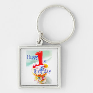 Happy 1st Birthday Silver-Colored Square Key Ring