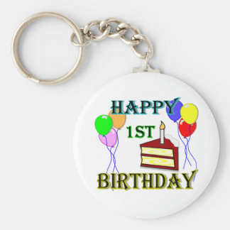 Happy 1st Birthday with Cake, Balloons and Candle Basic Round Button Key Ring