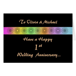 Happy 1st Customizable Anniversary Card
