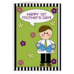 happy 1st mother's day (boy twins) greeting cards