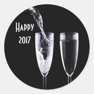 Happy 2017 Black White Champagne Glasses Festive Classic Round Sticker
