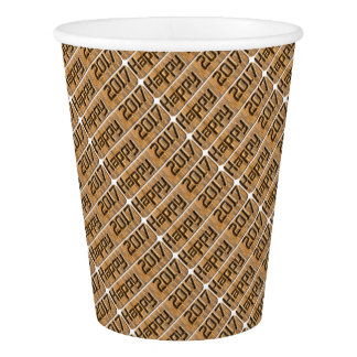 Happy 2017 Engraved  Rustic Brown Typography Paper Cup