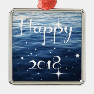 Happy 2018 metal ornament