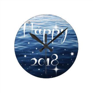 Happy 2018 round clock