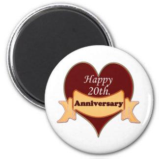 Happy 20th. Anniversary 6 Cm Round Magnet