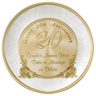 Happy 20th Anniversary Gifts PERSONALIZED Plate