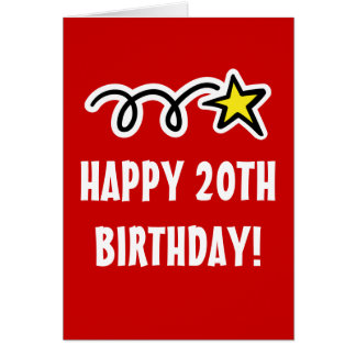 Happy 20th Birthday Card For Men and Women
