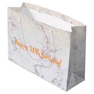 Happy 20th Birthday elegant marble faux glitter Large Gift Bag