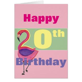 Happy 20th Birthday with a Flamingo Card