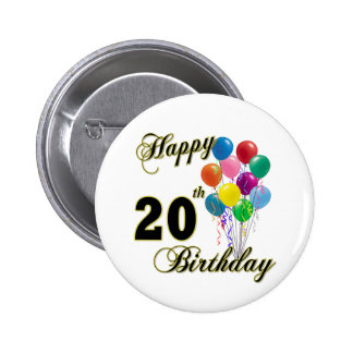 Happy 20th Birthday with Balloons 6 Cm Round Badge