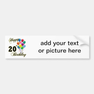 Happy 20th Birthday with Balloons Bumper Sticker