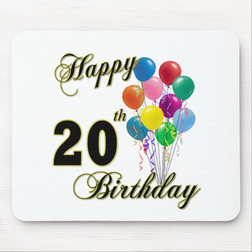 Happy 20th Birthday with Balloons Mousepads