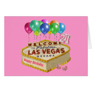 Happy 21 Birthday Las Vegas CAKE Card. Card