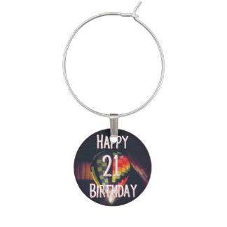 Happy 21st Birthday Balloon Wine Charm