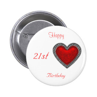 Happy 21st Birthday Button Red Heart