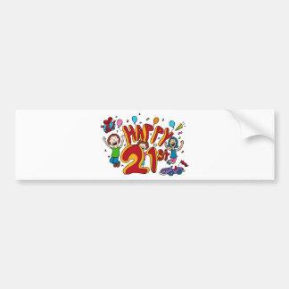 Happy 21st Birthday Cartoon Bumper Sticker