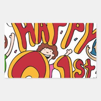 Happy 21st Birthday Cartoon Rectangular Sticker